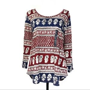 Lucky Brand Tunic Top, Blue/Red/White Large NWT